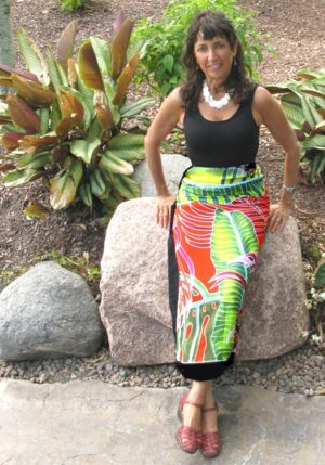 Fiesta Palms Orange- wrapped skirt