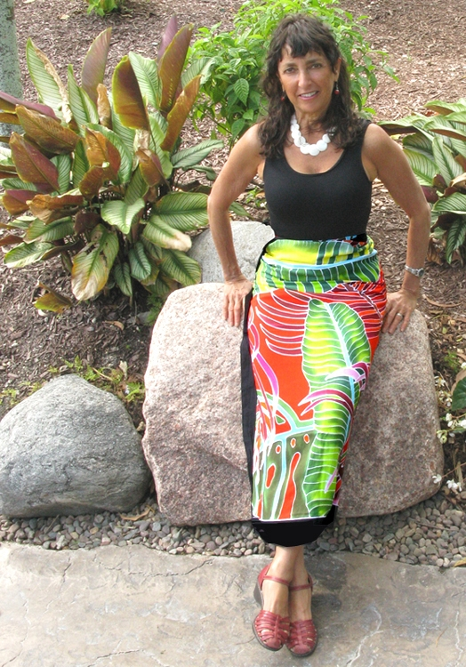 Fiesta Palms Orange- wrapped skirt
