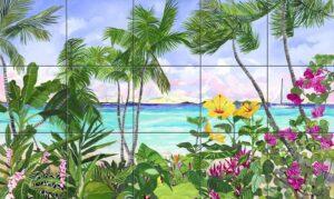607-Art on tile -Sailboat Beach