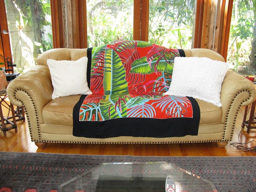 Fiesta Palms Orange -Throw Cover