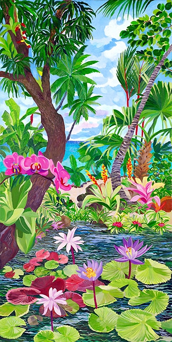 Pink Orchids on Lotus Pond