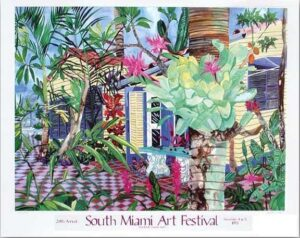 690-1985 South Miami Art Festival Poster - Bromeliads Bloom
