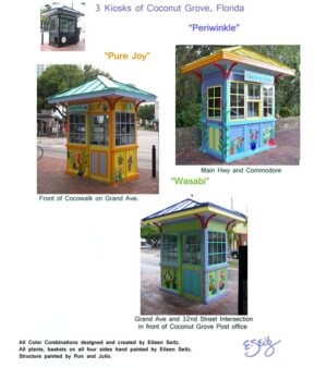 3 Handpainted Metal Kiosks