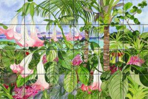 Belladonna Blooms Art on Tile 4x4 on Ceramic