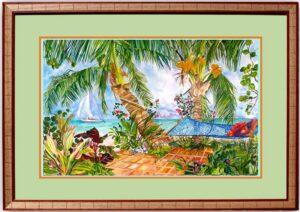 Under the Golden Coconuts Framed