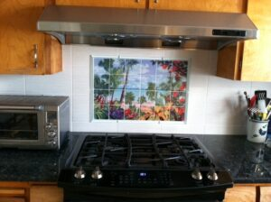 Springtime in the Tropics- Tile Art for Kitchen Backsplash