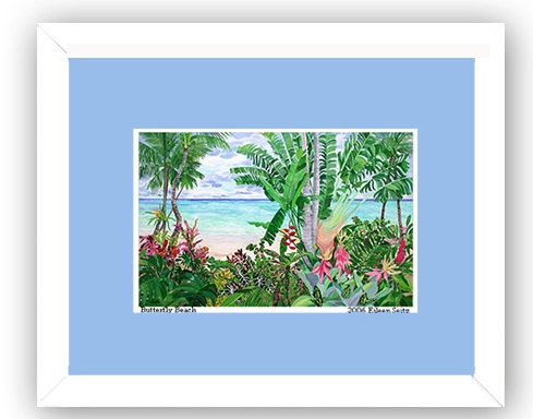 Framed Butterfly Beach -Cornflower