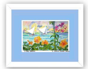 Framed 3 Day Sailers - Cornflower