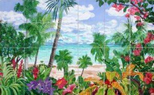 Art on Tile - Springtime in the Tropics 6 x 6