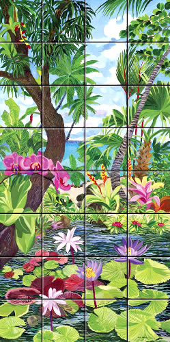 Art on Tile - Pink Orchids on Lotus Pond 6 x
