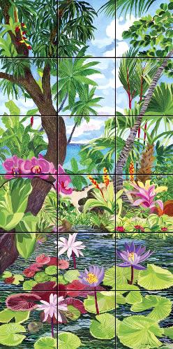 Art on Tile - Pink Orchids on Lotus Pond - 4.25 x 4.25